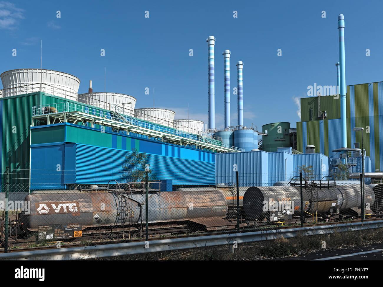 Incinérateur de déchets industriels dans un parc industriel Frankfurt-Hoechst. Photo Stock