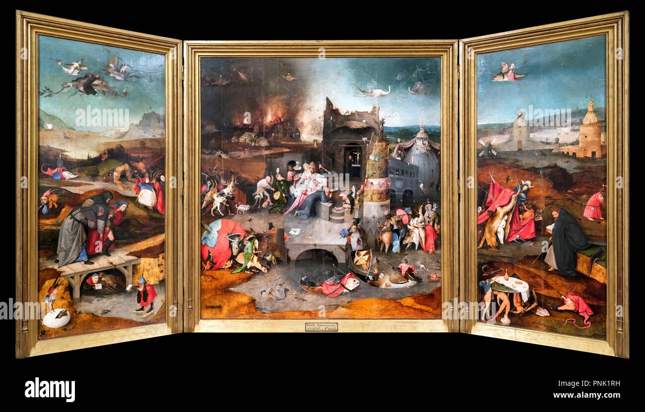 La Tentation de saint Antoine, un triptyque de Jérôme Bosch (c.1450-1516), huile sur panneau de chêne, c.1500. Photo Stock