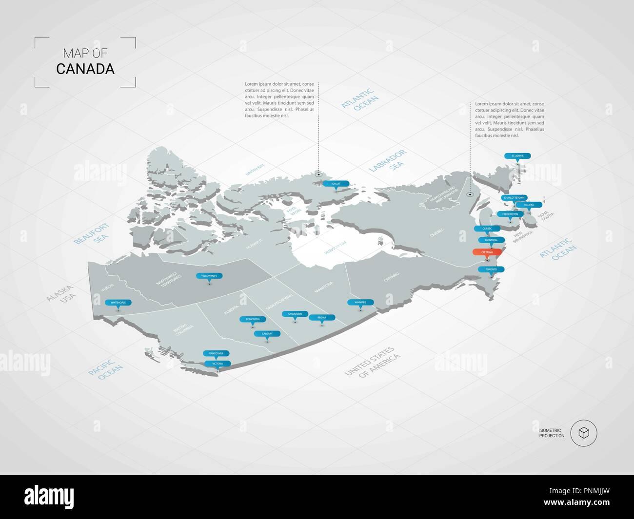Carte Canada Avec Ville.3d Isometrique Du Canada Carte Vectorielle Illustration Stylisee
