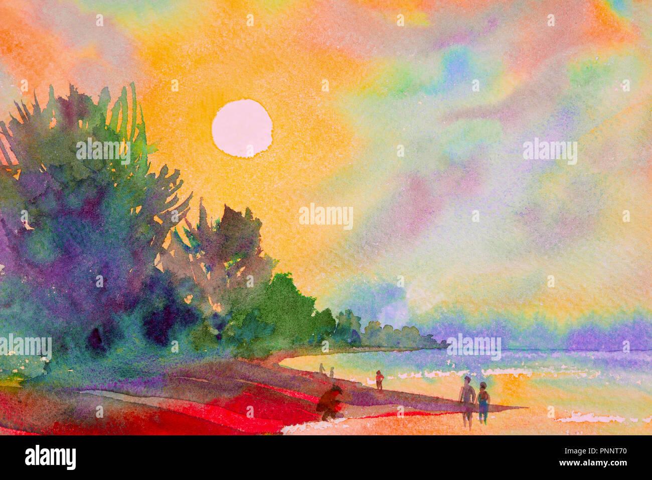 Peinture Aquarelle Paysage Marin De Couleur Soleil Et Le Sable Avec