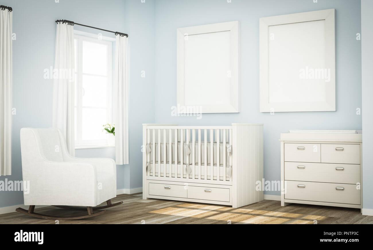 Deux armatures blanc sur bleu maquette de rendu 3D chambre ...