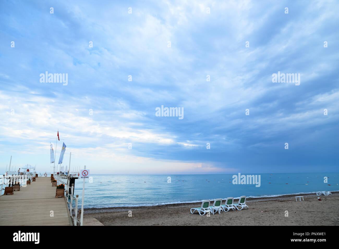 Belek, Turquie - Juin 05, 2016 : vue sur la plage de Belek ...