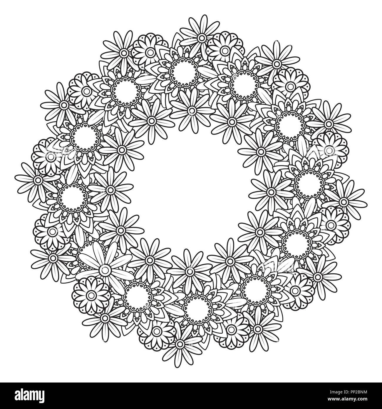 Coloriage Cadre Fleur.Doodle Noir Et Blanc Guirlande Cadre Decoratif Fleurs Ornement