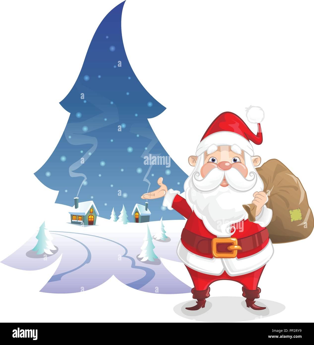 Illustration de Noël - paysage d'hiver en forme de pin avec le Père Noël mignon Illustration de Vecteur