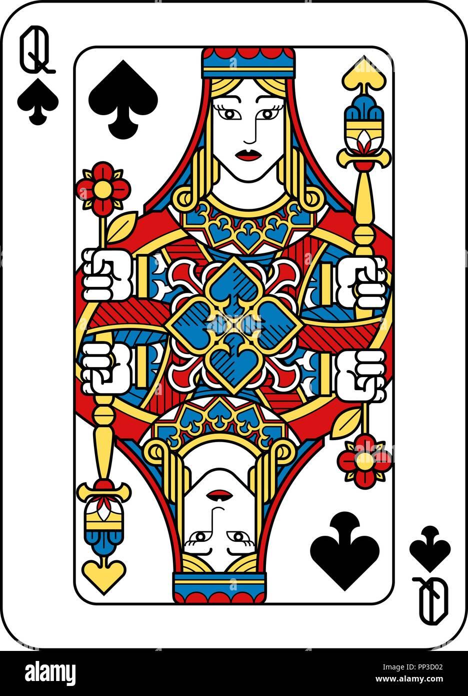 jeu de carte dame de pique Jeu de cartes Dame de Pique Jaune Rouge Bleu Noir Vecteurs Et
