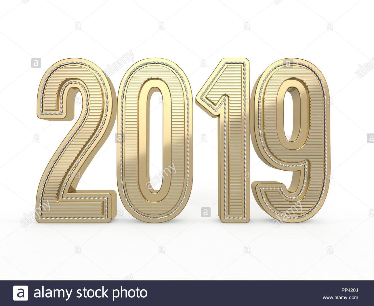 Nombre D Or 2019 Decoration Du Texte Nouvel An Est Le Premier Jour