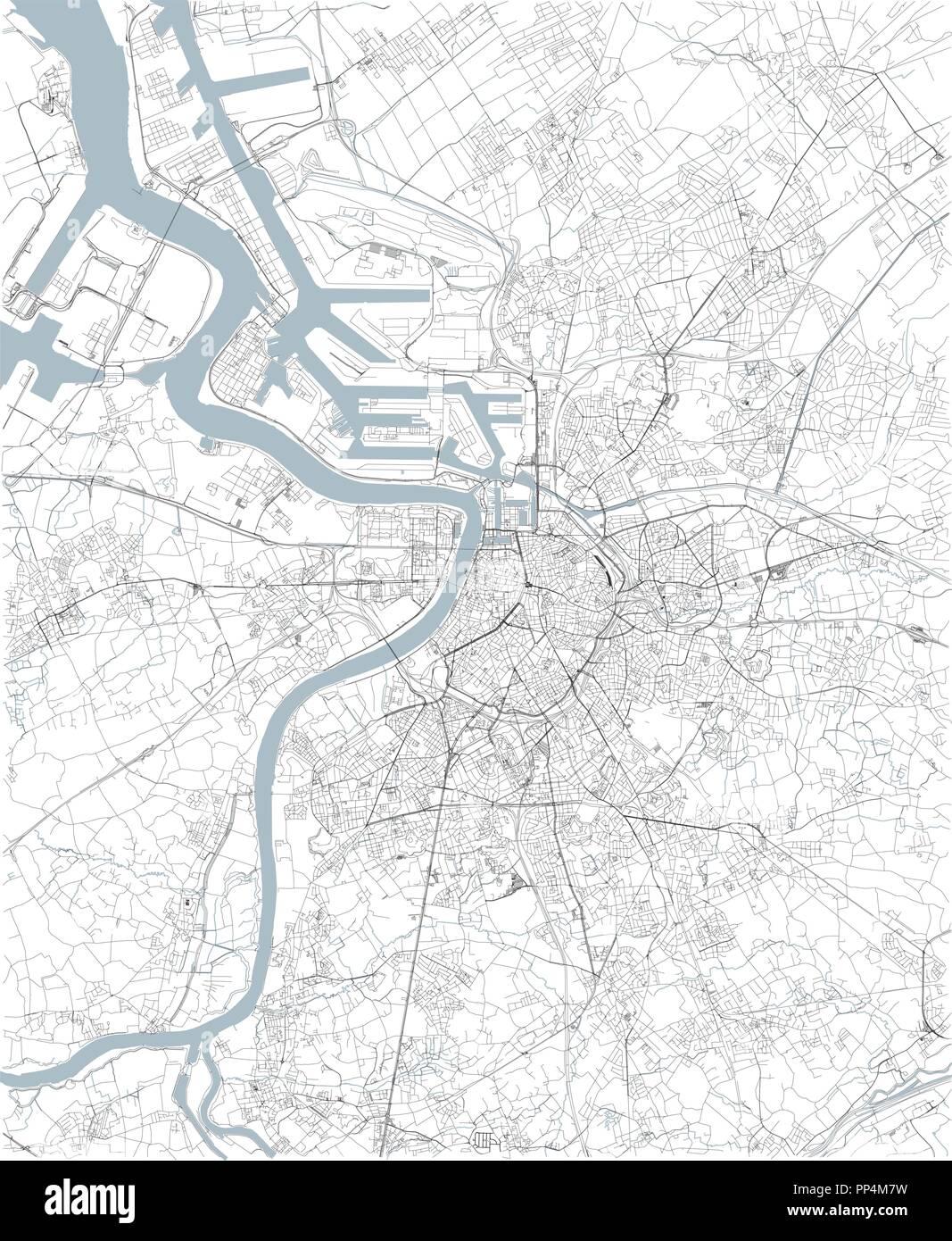 Carte Belgique Noir Et Blanc.Site D Anvers La Vue Satellite Carte En Noir Et Blanc