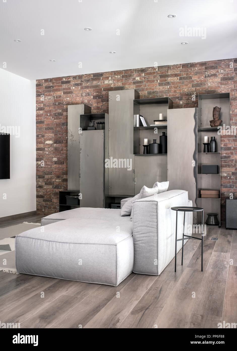 Belle Décoration Moderne, Blanc Et Des Murs De Brique Et Un Plancher Du0027un  Tapis.