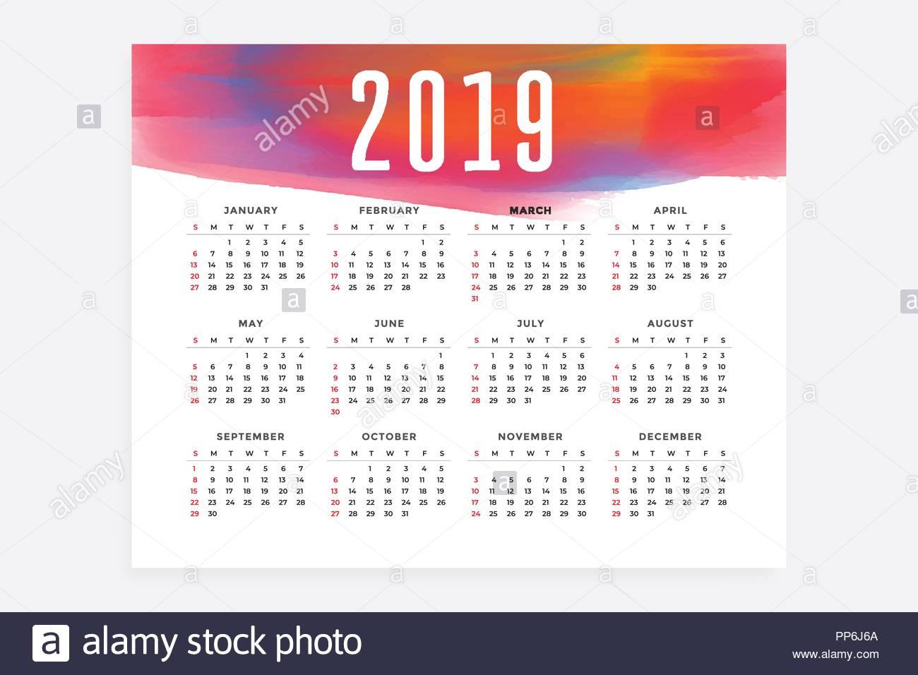Page Calendrier.Mise En Page Calendrier 2019 Concept Design Vecteurs Et