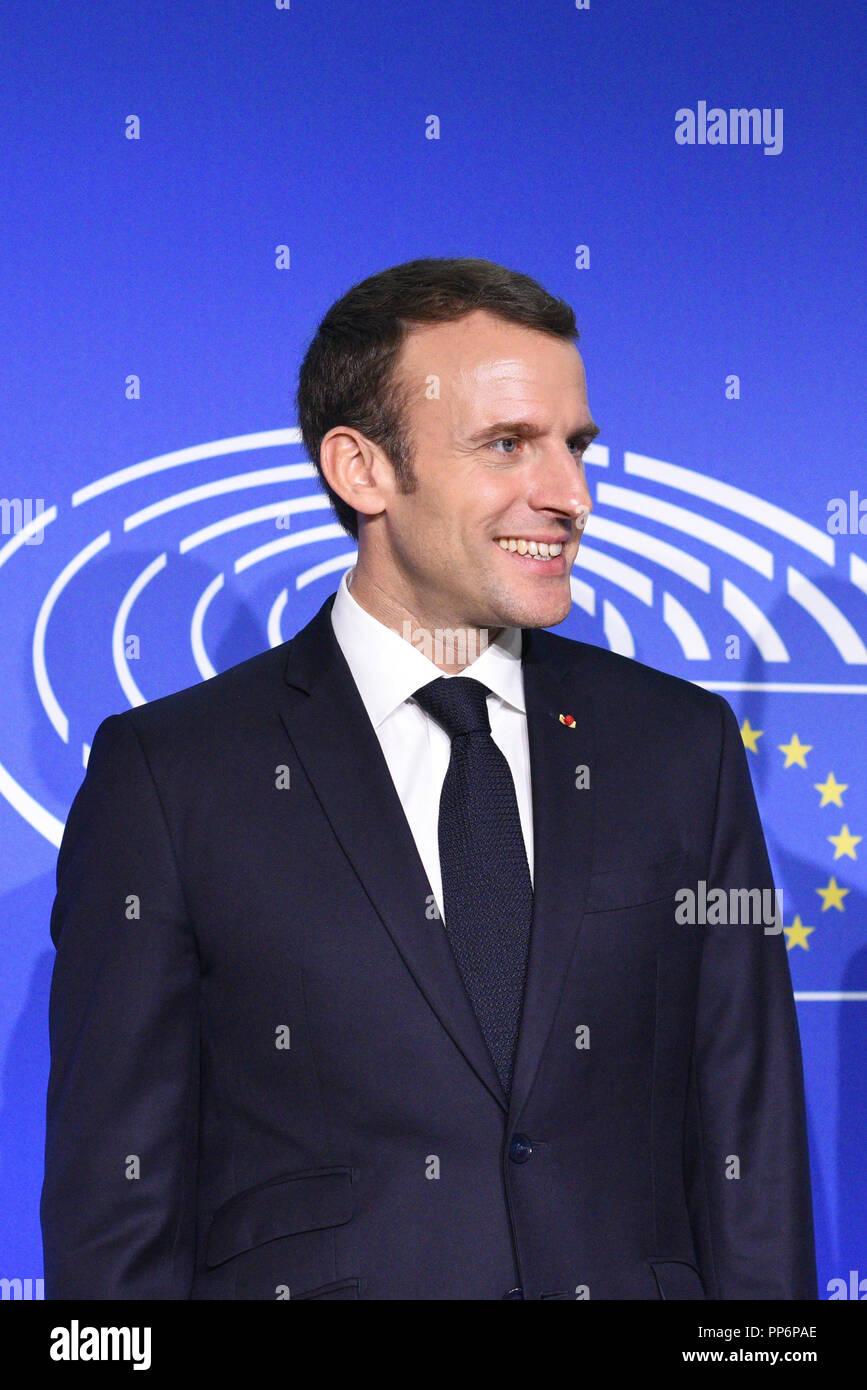 Strasbourg (nord-est de la France), le 2018/04/17: Emmanuel Macron devant le Parlement européen Photo Stock