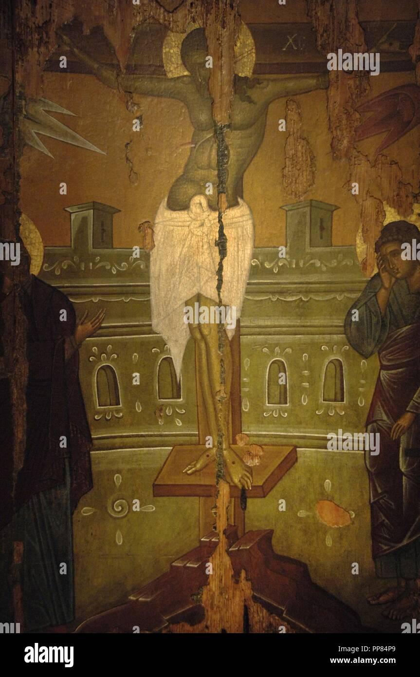 L'art byzantin est de l'Empire romain. Icône. Crucifixion. L'atelier de Rhodes. 15e siècle. Musée byzantin. Athènes. La Grèce. Photo Stock