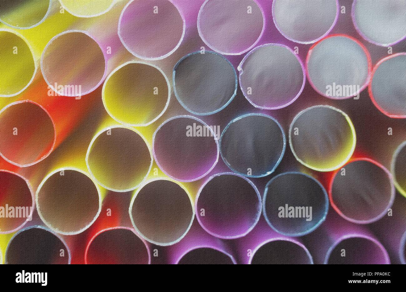 Groupe des pailles en plastique pour boissons. Les tubes néons. Résumé fond. L'effet de toile Photo Stock