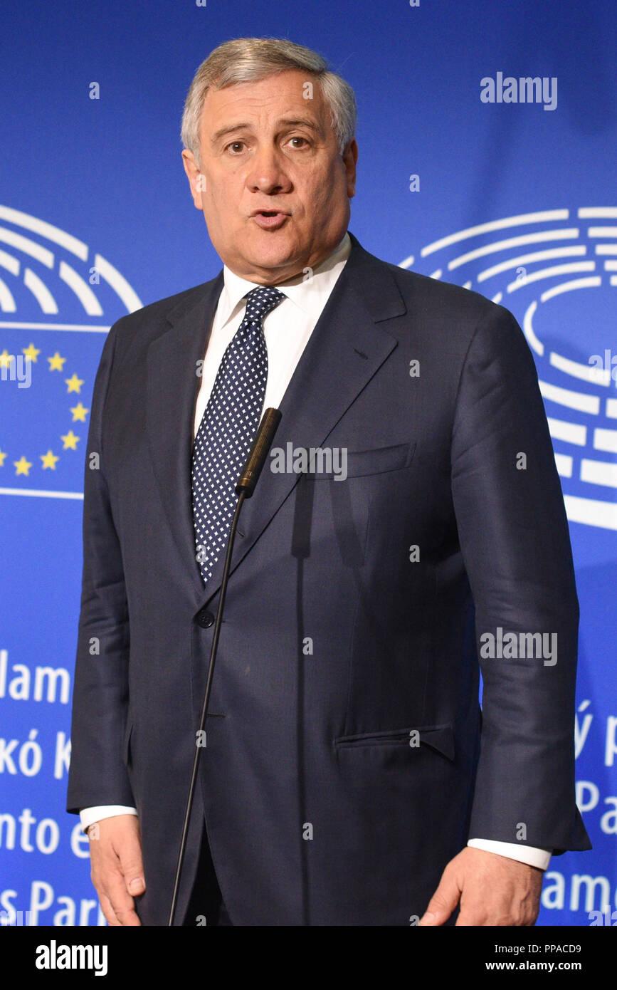 Strasbourg (nord-est de la France), le 2018/04/17: Antonio Tajani, Président du Parlement européen Photo Stock