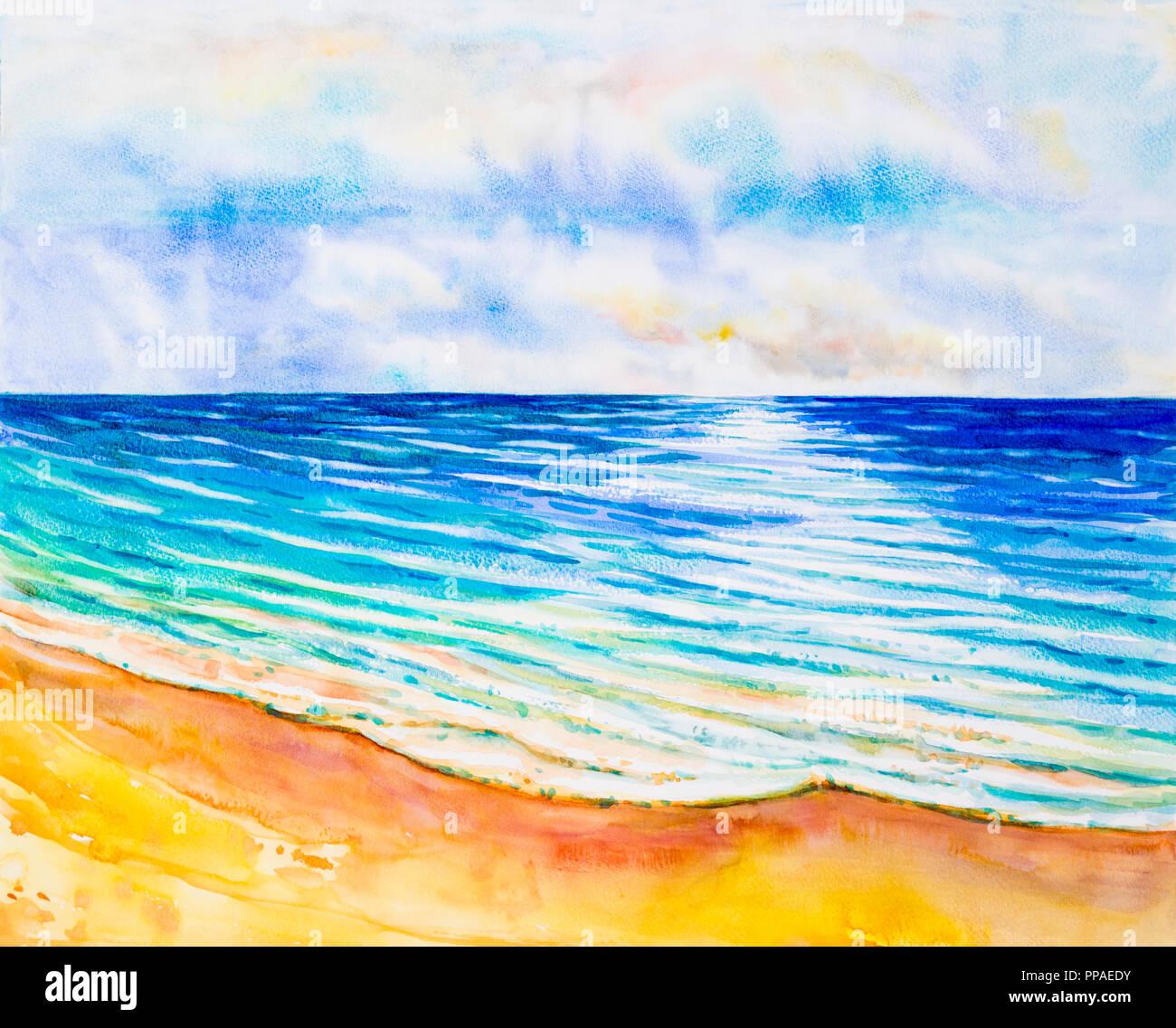 Seascape aquarelle peinture originale de couleur sur la mer, de la plage et le ciel,fond de nuage le matin lumineux, la beauté de la nature saison. Impressionner peint Banque D'Images