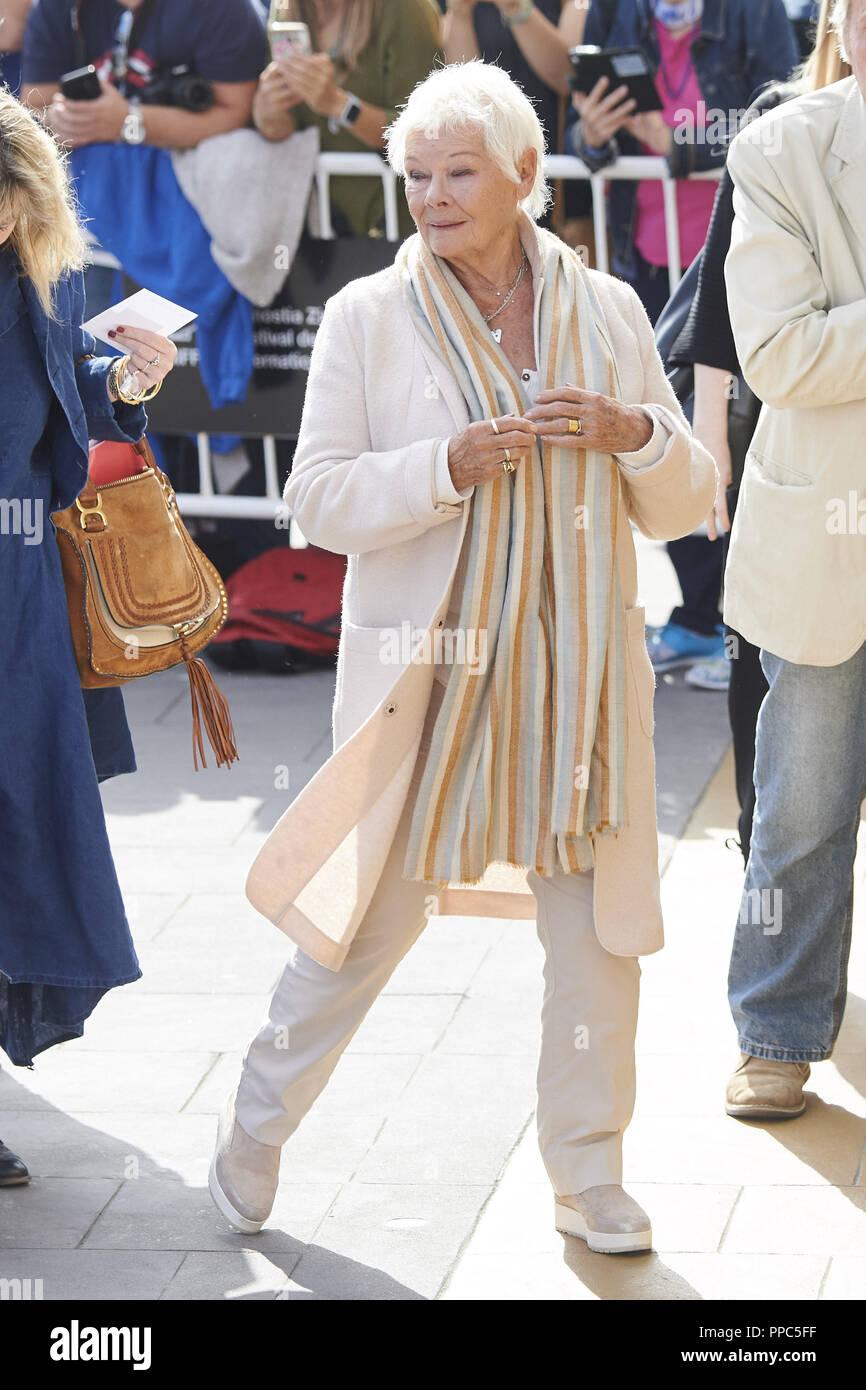 San Sebastian, Espagne. 25 Septembre, 2018. JUDY DENCH est vu en arrivant à l'hôtel Maria Cristina au cours de 66ème Festival du Film de San Sebastian à San Sebastian, Espagne. Crédit: Jack Abuin/ZUMA/Alamy Fil Live News Banque D'Images