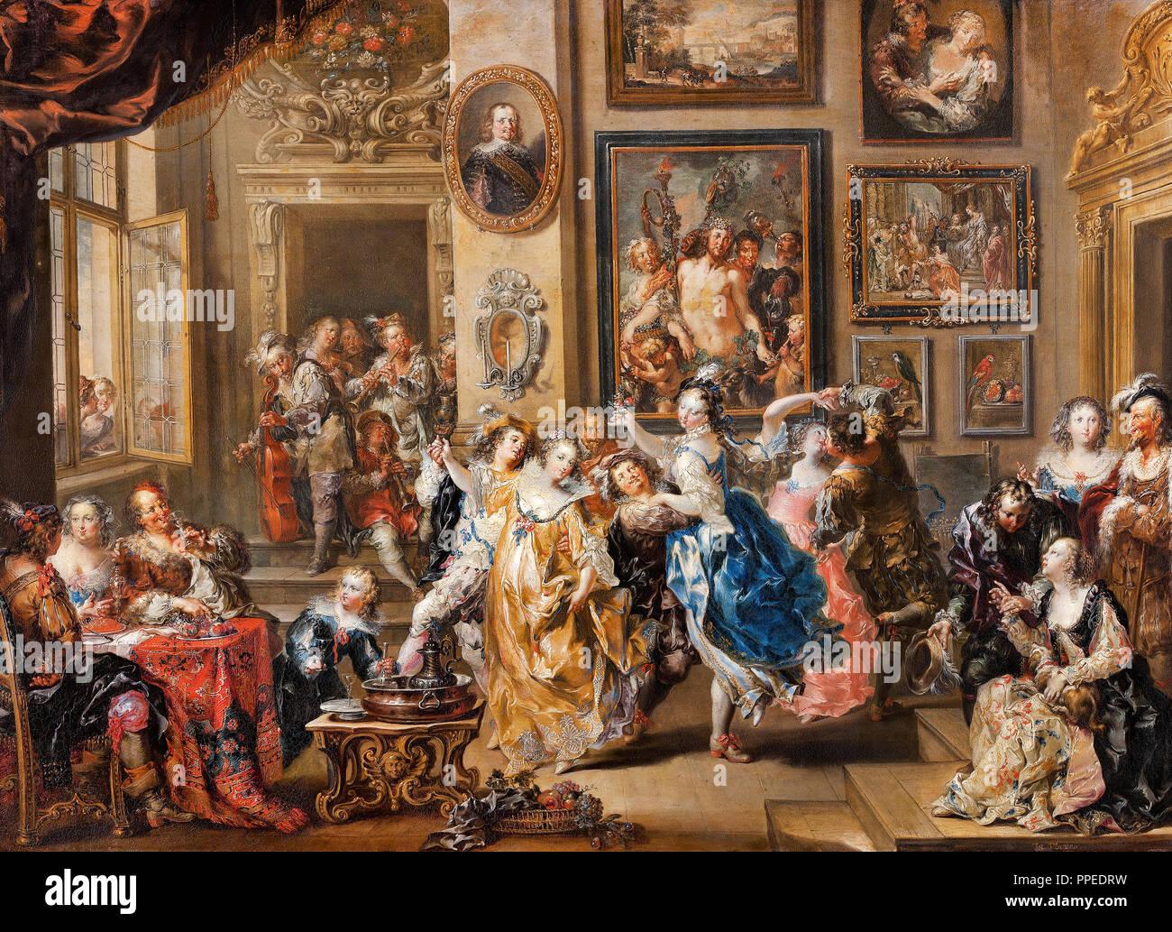 Johann Georg Platzer - scène de danse avec l'intérieur du palais. Circa 1730-1735. Huile sur cuivre. Skokloster Castle, Habo, Suède. Photo Stock