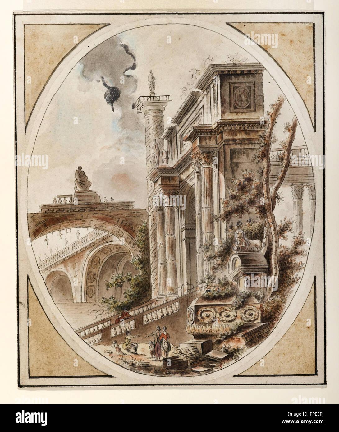 Jean-Henry-Alexandre Pernet, fantasme d'une ruine d'architecture. Vers 1770. Plume et encre noire, aquarelle, gouache blanche. Cooper Hewitt, Smithsonian de Photo Stock