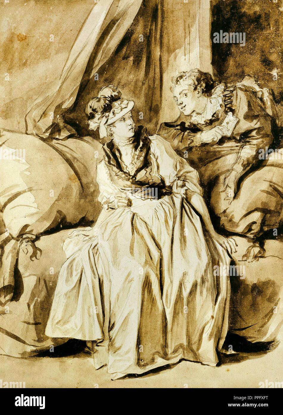 Jean-Honore Fragonard, la lettre ou la Conversation espagnole. Vers 1778. Le dessin et l'Aquarelle. Art Institute of Chicago, USA Photo Stock