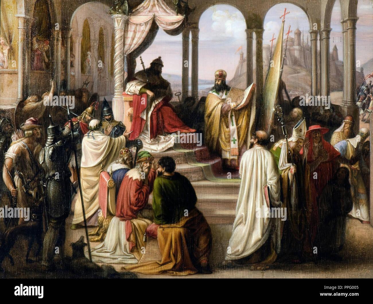 Johann Leberecht Eggink - Prince Vladimir choisit une religion en 988. / Un différend religieux à la cour de Russie. 1822 Huile sur toile. National Letton Photo Stock