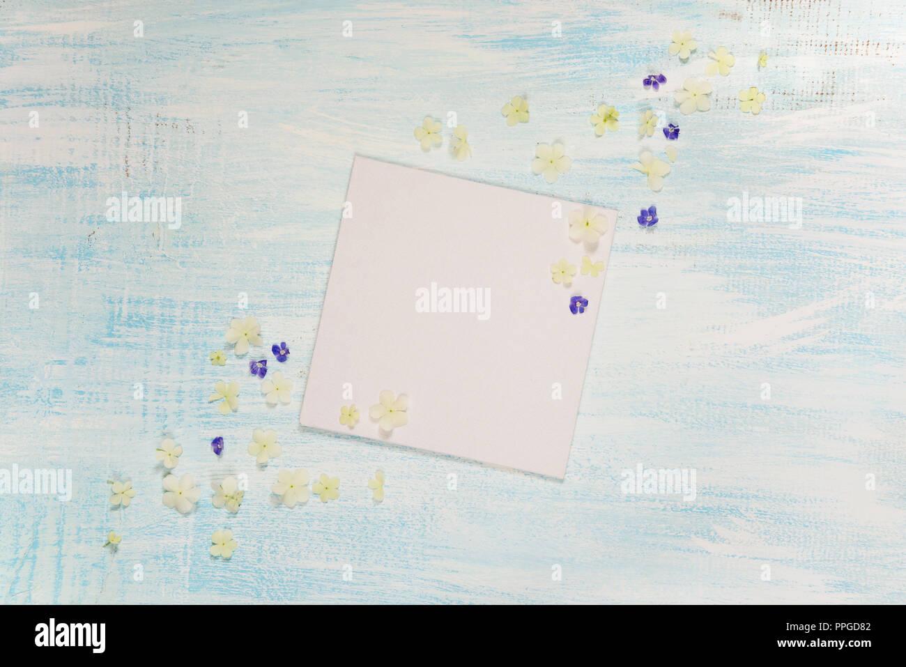 Page d'album de mariage ou un album photo de famille, bâti avec des fleurs bleu et blanc sur fond de bois clair; haut Vue, télévision lay, overhead view Photo Stock