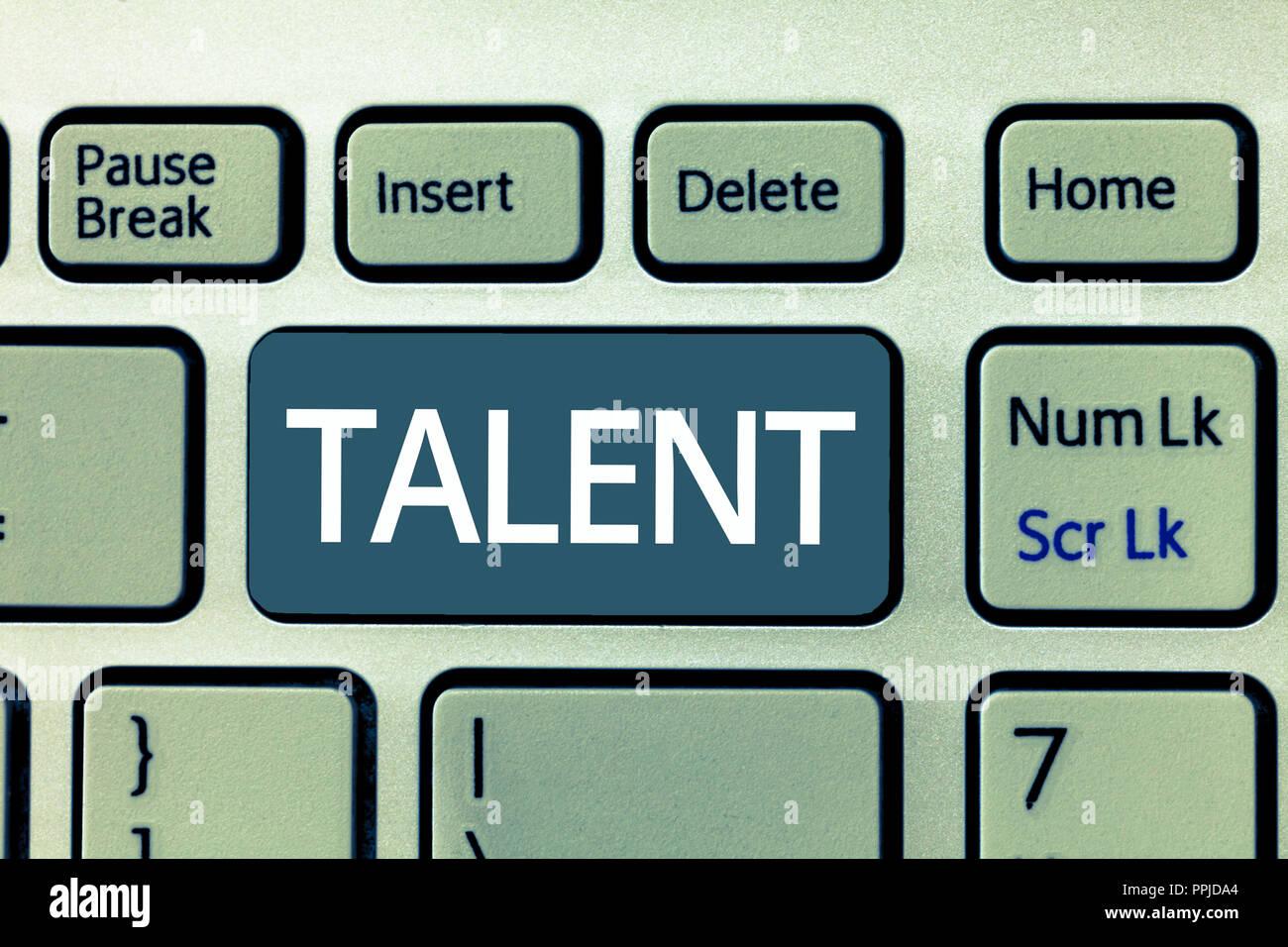Signe texte montrant le talent. Photo conceptuelle aptitude naturelle ou une compétence avec les loisirs ou le sport vous a obtenu. Photo Stock