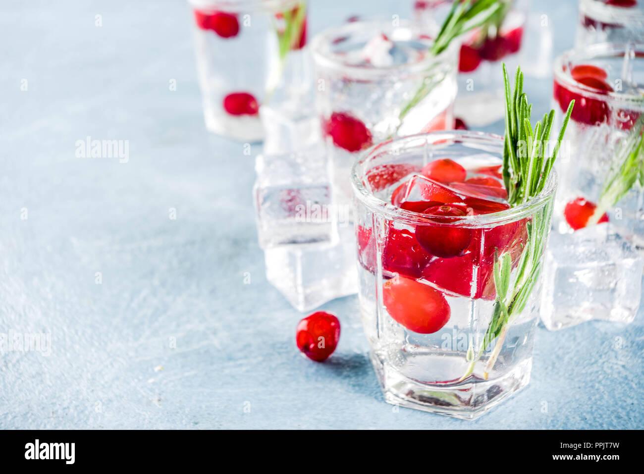 Noël ou Nouvel An cocktail de canneberges d'hiver avec le romarin, liqueurs, gin tonic, sur fond de béton bleu clair avec des cubes de glace, les baies fraîches et Banque D'Images