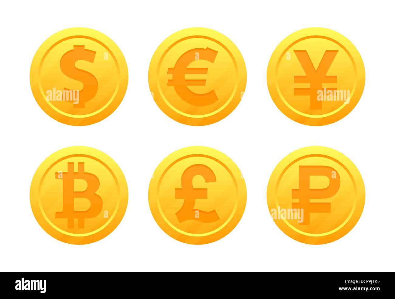 Vector Set De Symboles Monnaie Mondiale Sous La Forme De