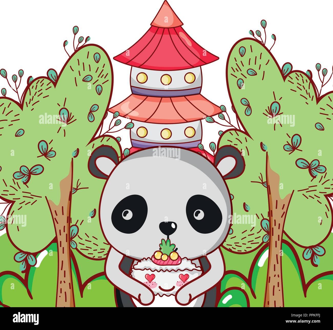 Kawaii Panda Bear Et De Lalimentation Vecteurs Et