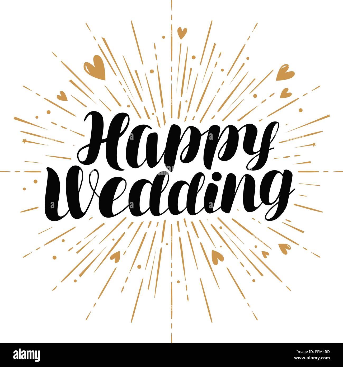 Heureux mariage, carte de vœux. Le mariage, se marier avec bannière.  Lettres manuscrites vector