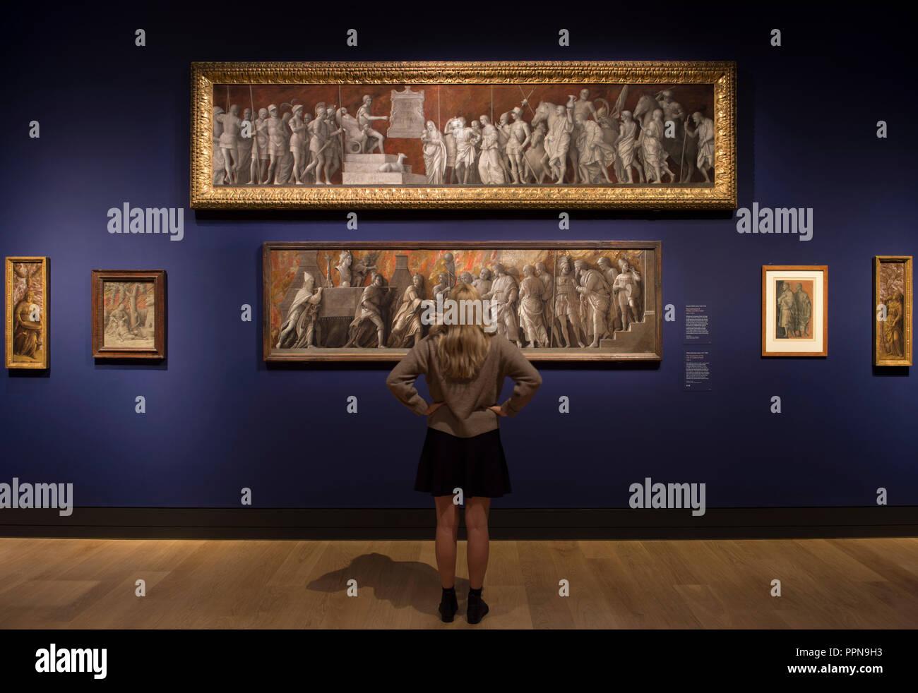 National Gallery, Londres, Royaume-Uni. 27 Septembre, 2018. À la suite de leurs carrières respectives à Padoue et Venise, et la renommée de Mantegna comme peintre de la cour à la puissante famille Gonzague dans les environs de Mantoue, 'Mantegna et Bellini' est la première exposition d'explorer les liens entre ces artistes créatifs et beaux-frères. L'image (haut): Giovanni Bellini, la continence de Publius Cornelius Scipio, sur 1506-8. National Gallery of Art, Washington, Samuel H. Kress Collection; (en bas): Andrea Mantegna, l'introduction du culte de Cybèle à Rome, 1505-6. Credit: Malcolm Park/Alamy Live News. Banque D'Images