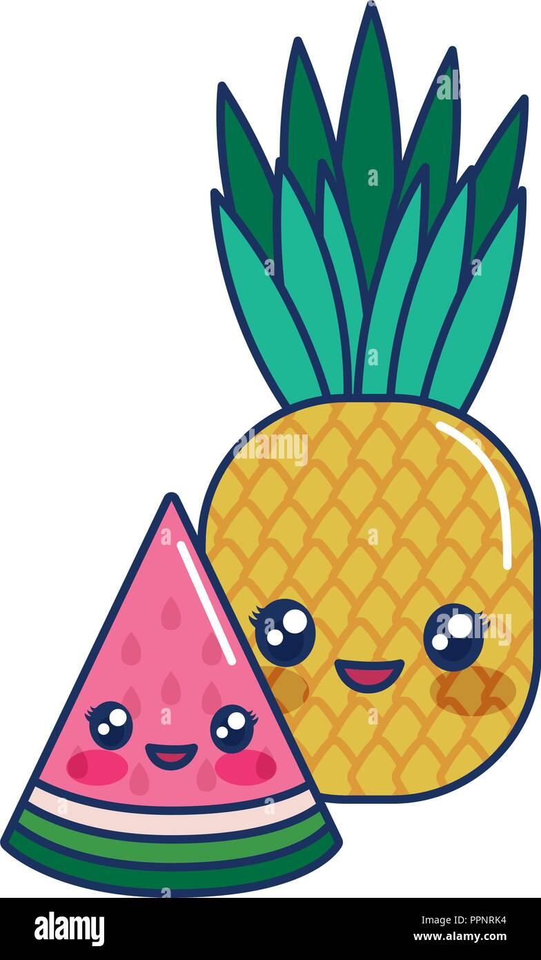 Kawaii Cartoon Fruits Ananas Pastèque Vector Illustration