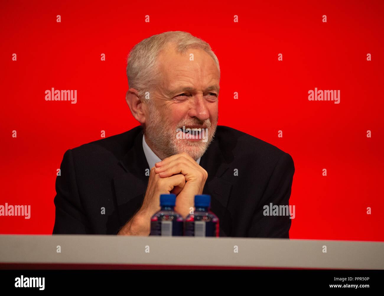 Leader syndical, Jeremy Corbyn, souriant et de bonne humeur lors de la conférence du parti travailliste à Liverpool. Photo Stock