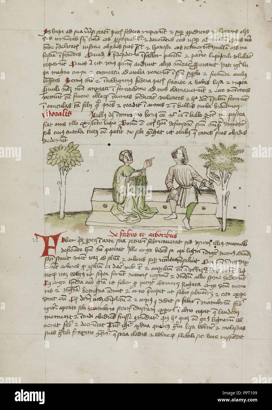 Une femme parlant à un cavalier; Trier, probablement, de l'Allemagne; troisième trimestre de 15e siècle, plume et encre noire et lavis de couleur Photo Stock