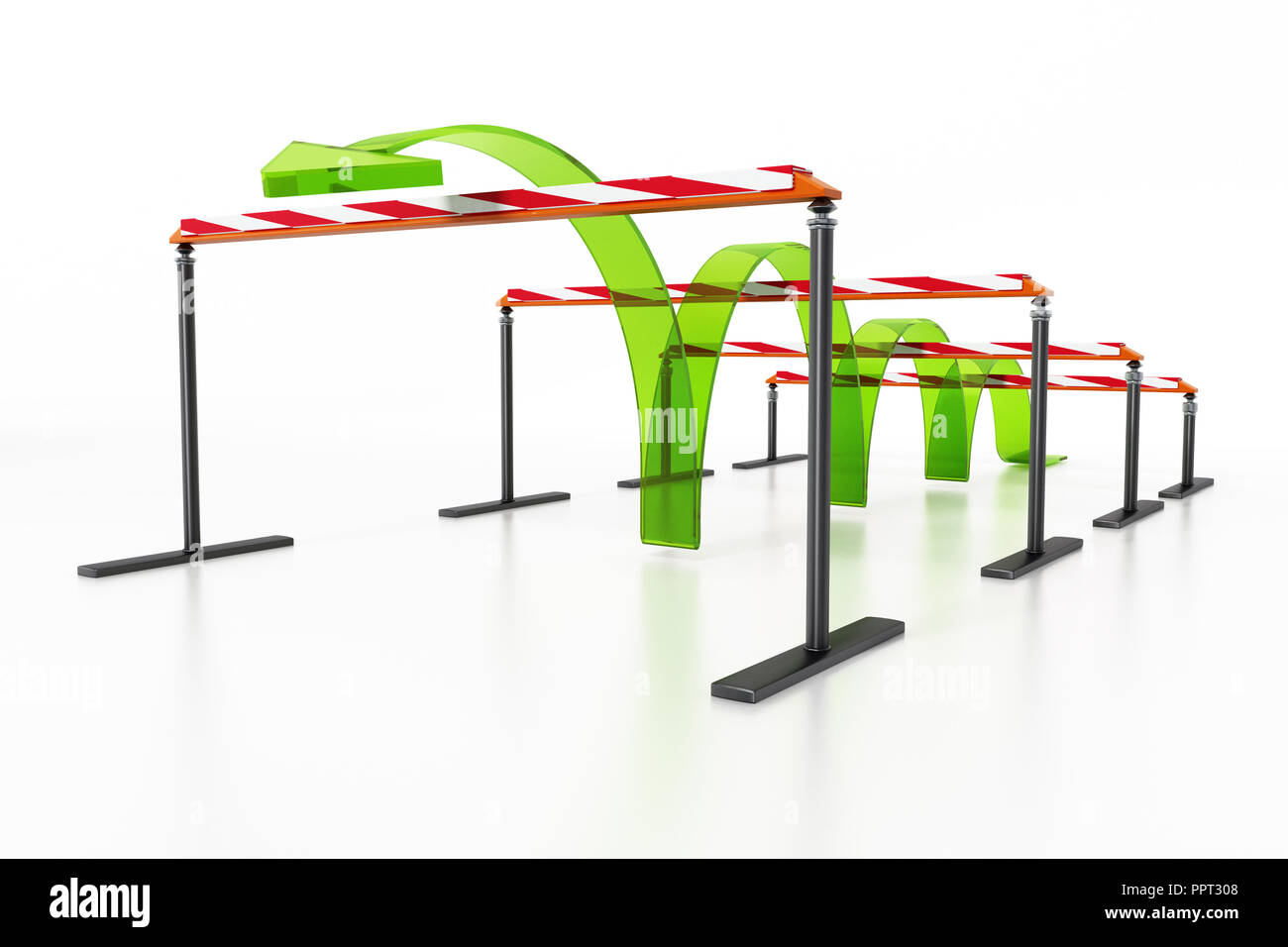 Flèche bleue sautant par dessus les obstacles. 3D illustration. Photo Stock