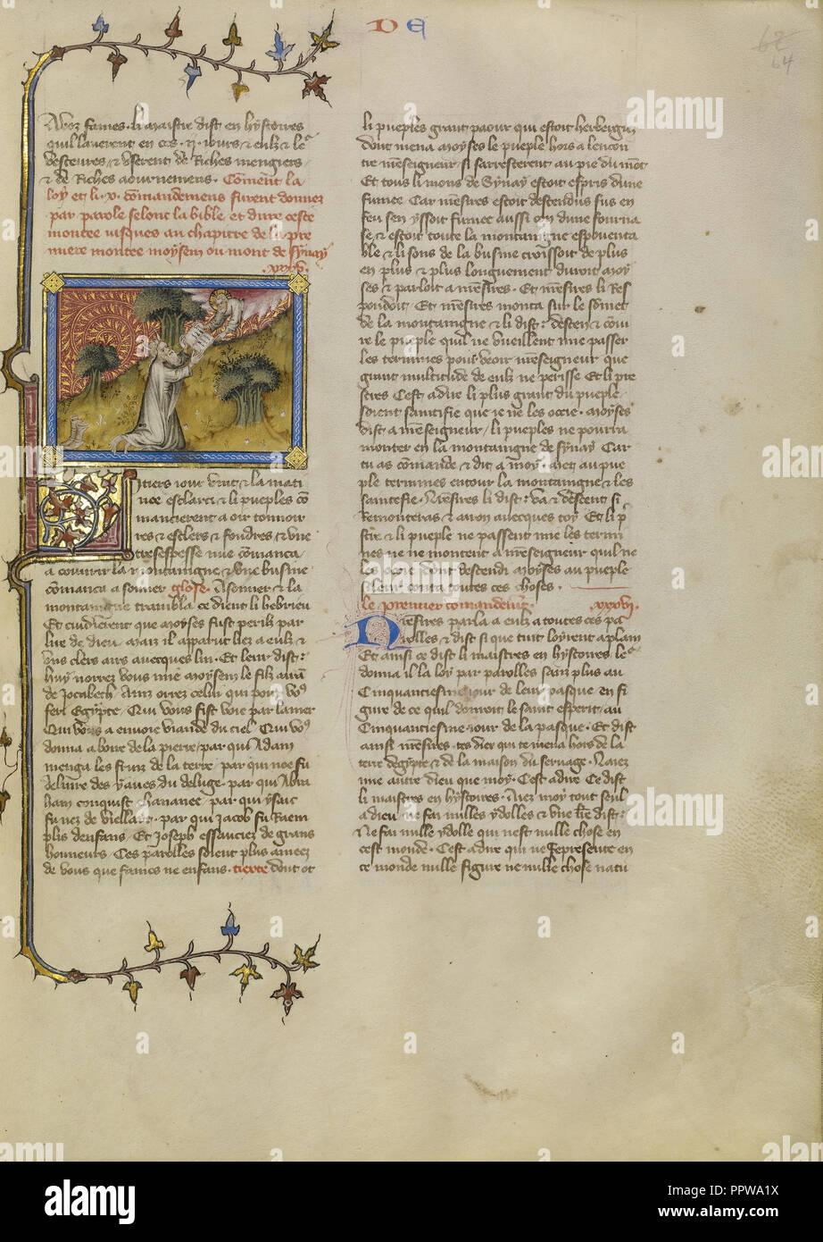 Moïse recevant les tables de la Loi; Maîtrise de Jean de Mandeville, Français, Actif 1350 - 1370, Paris, France; environ 1360 Banque D'Images