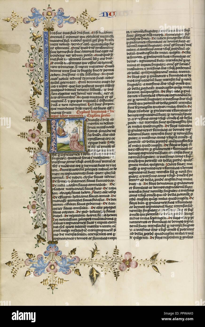 L initiale: Dieu parlant à Moïse; cercle de Stefan Lochner, Allemand, est mort 1451, Cologne, Allemagne; 1450; la feuille d'or, à la tempera Photo Stock