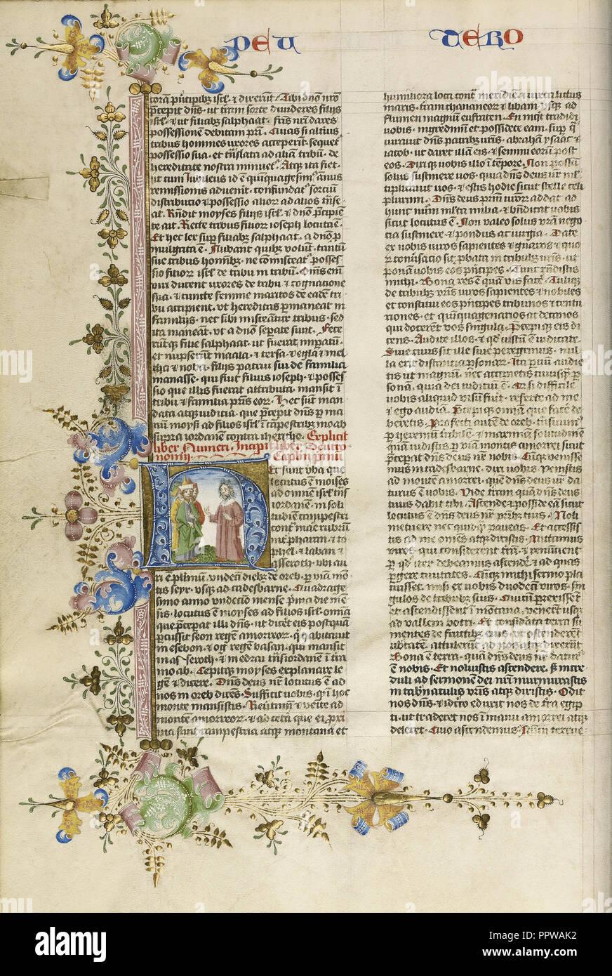 H initiale: Moïse parlant aux Israélites; cercle de Stefan Lochner, Allemand, est mort 1451, Cologne, Allemagne; 1450; l'or Photo Stock