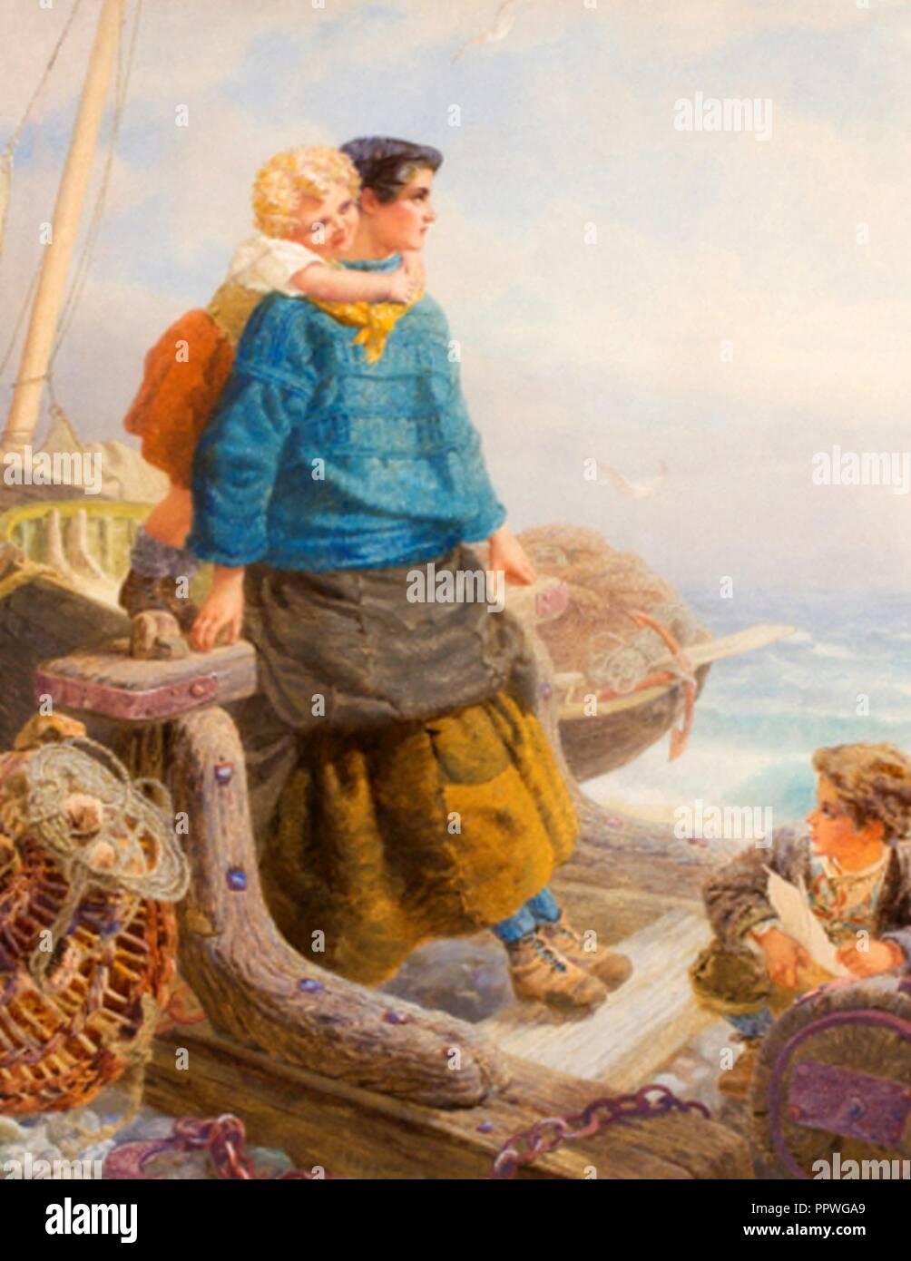 Pause Pause Pause sur les pierres gris et froid de la mer O‥A6 par Alfred Downing Fripp. Photo Stock
