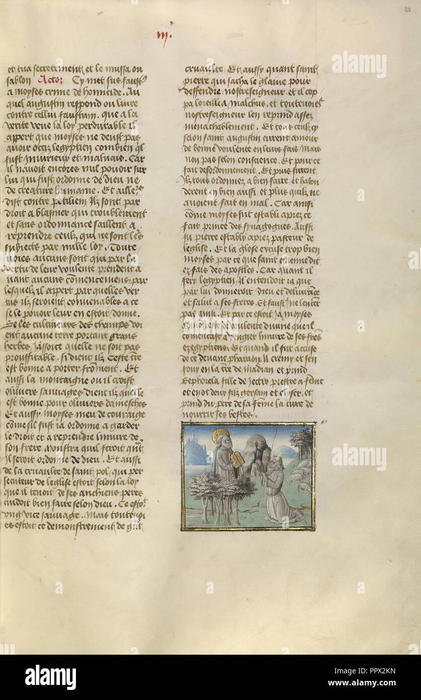 Moïse recevant les tables de la Loi; Gand, Belgique; environ 1475 Tempera; couleurs, feuilles d'or, et or sur parchemin; Feuille de peinture Banque D'Images