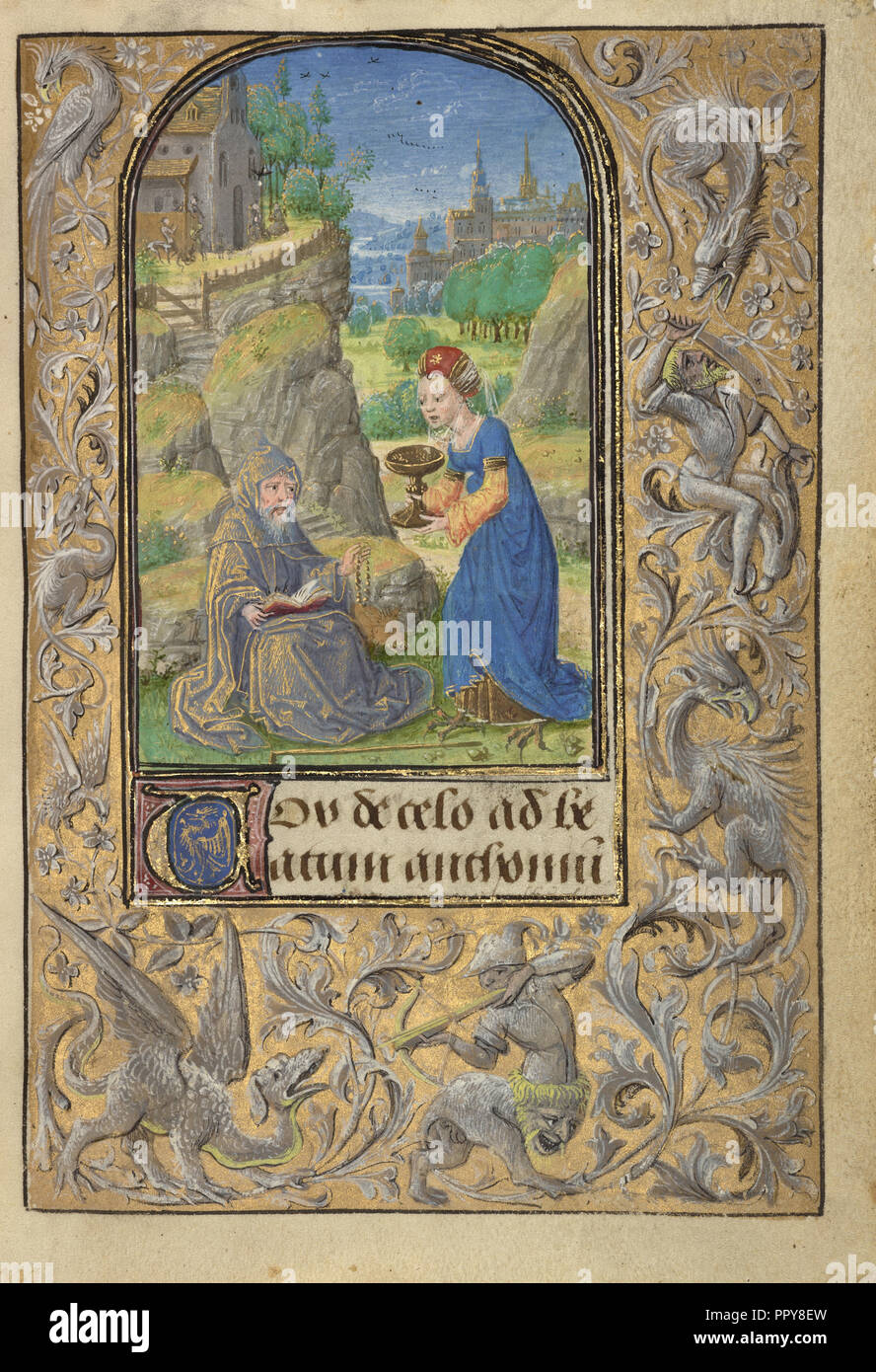 La Tentation de Saint Antoine; Lieven Van Lathem, flamand, environ 1430 - 1493, Anvers, Belgique, illuminé; 1469 Tempera; Photo Stock