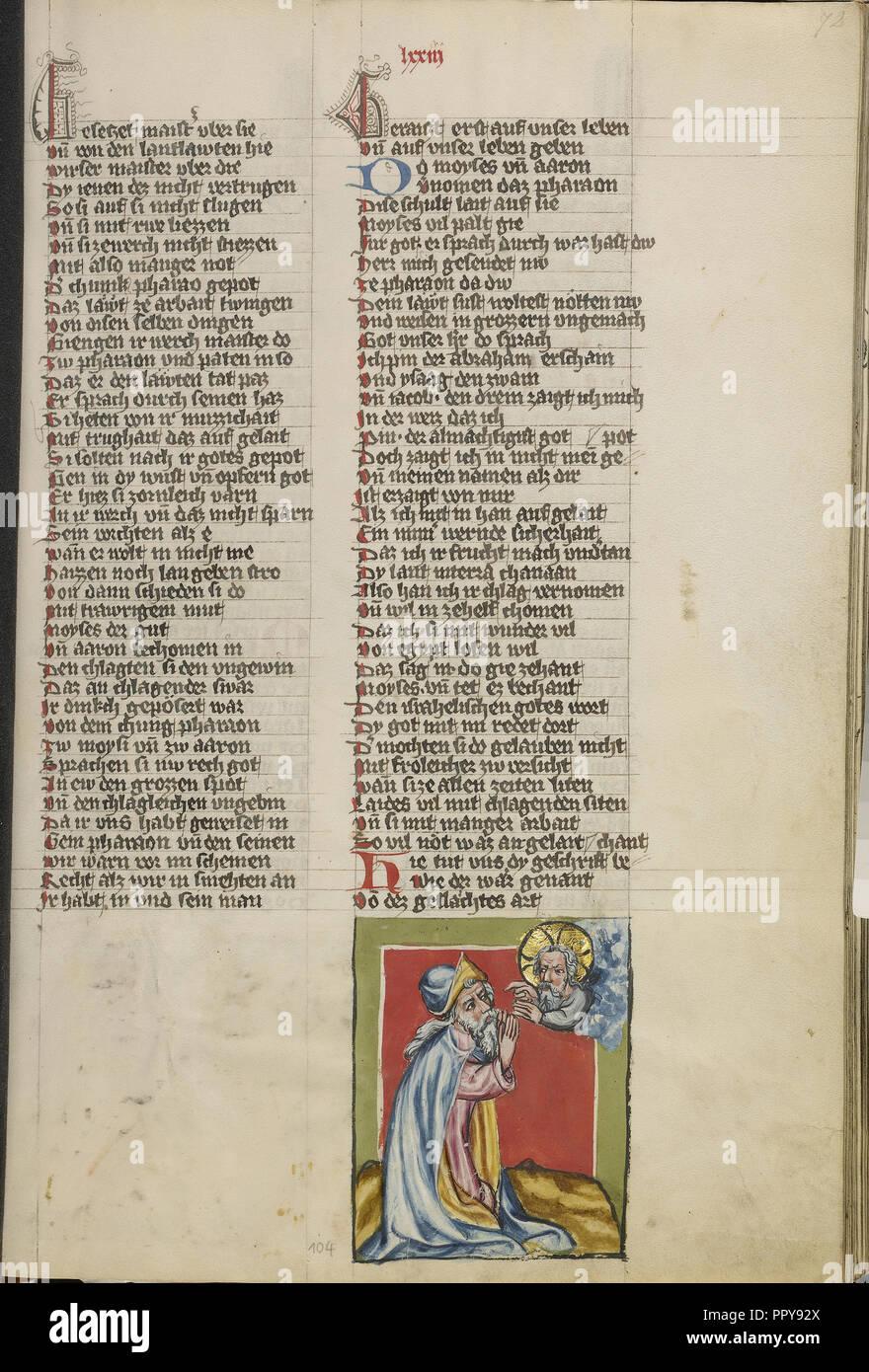 Dieu parlant à Moïse; Regensburg, Bavière, Allemagne; 1400 - 1410; température de couleurs, or, argent, peinture et encre sur parchemin Photo Stock