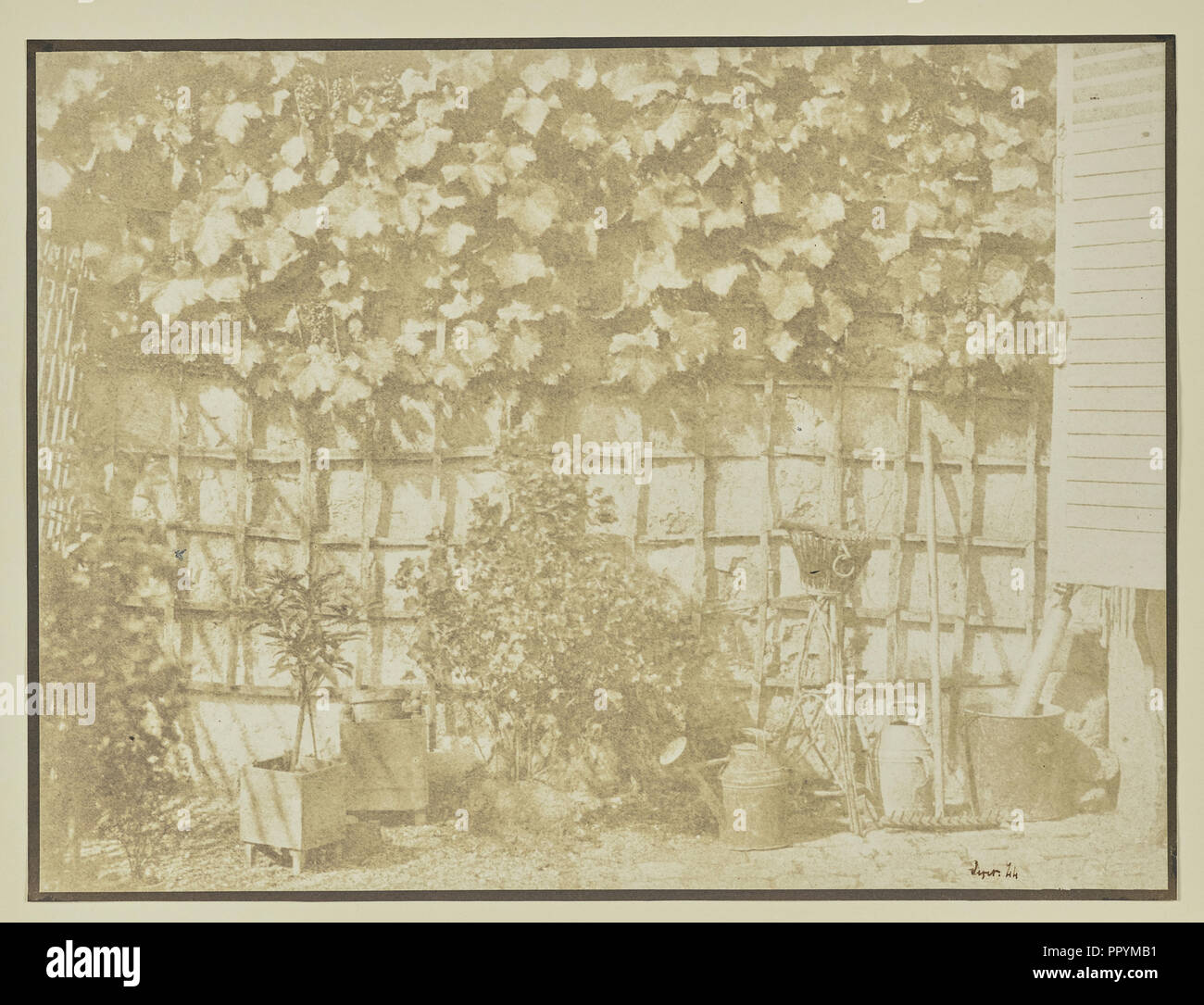 Mur de jardin avec des outils ; Hippolyte Bayard, Français ...