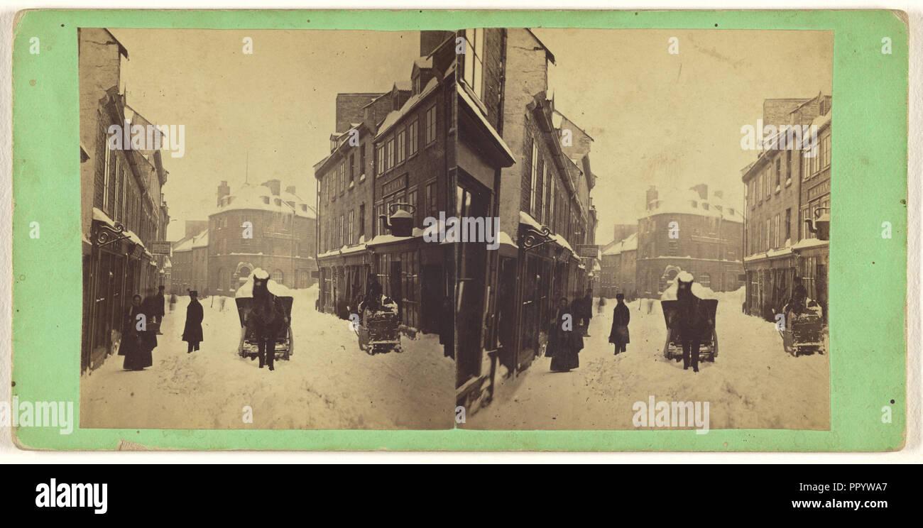 Le Québec. Transporter la neige, après une tempête de neige; L.P. Vallée, canadien, 1837 - 1905, Québec, Canada, Actif 1865 - 1875; Albumen Photo Stock