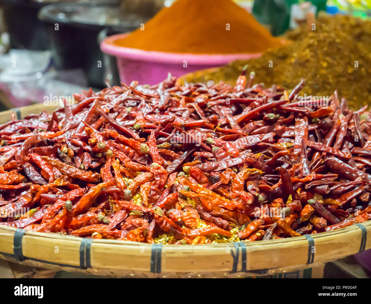 Piments, Luang Prabang, Laos, Indochine, Asie du Sud-Est, l'Asie Photo Stock