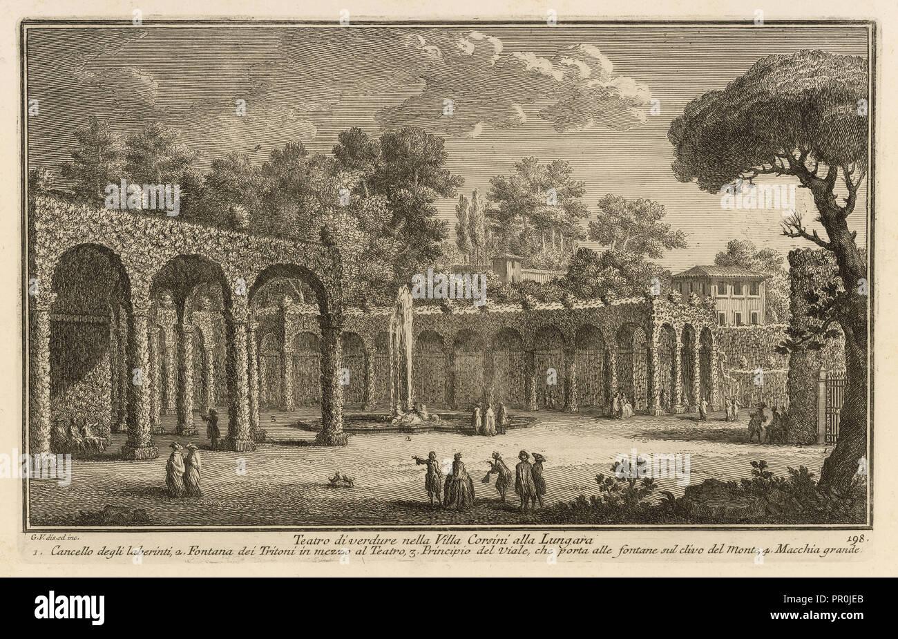 Teatro di verdure nella Villa Corsini alla Lungara, Delle magnificenze di Roma Antica e moderna, Vasi, Giuseppe, 1710-1782 Photo Stock