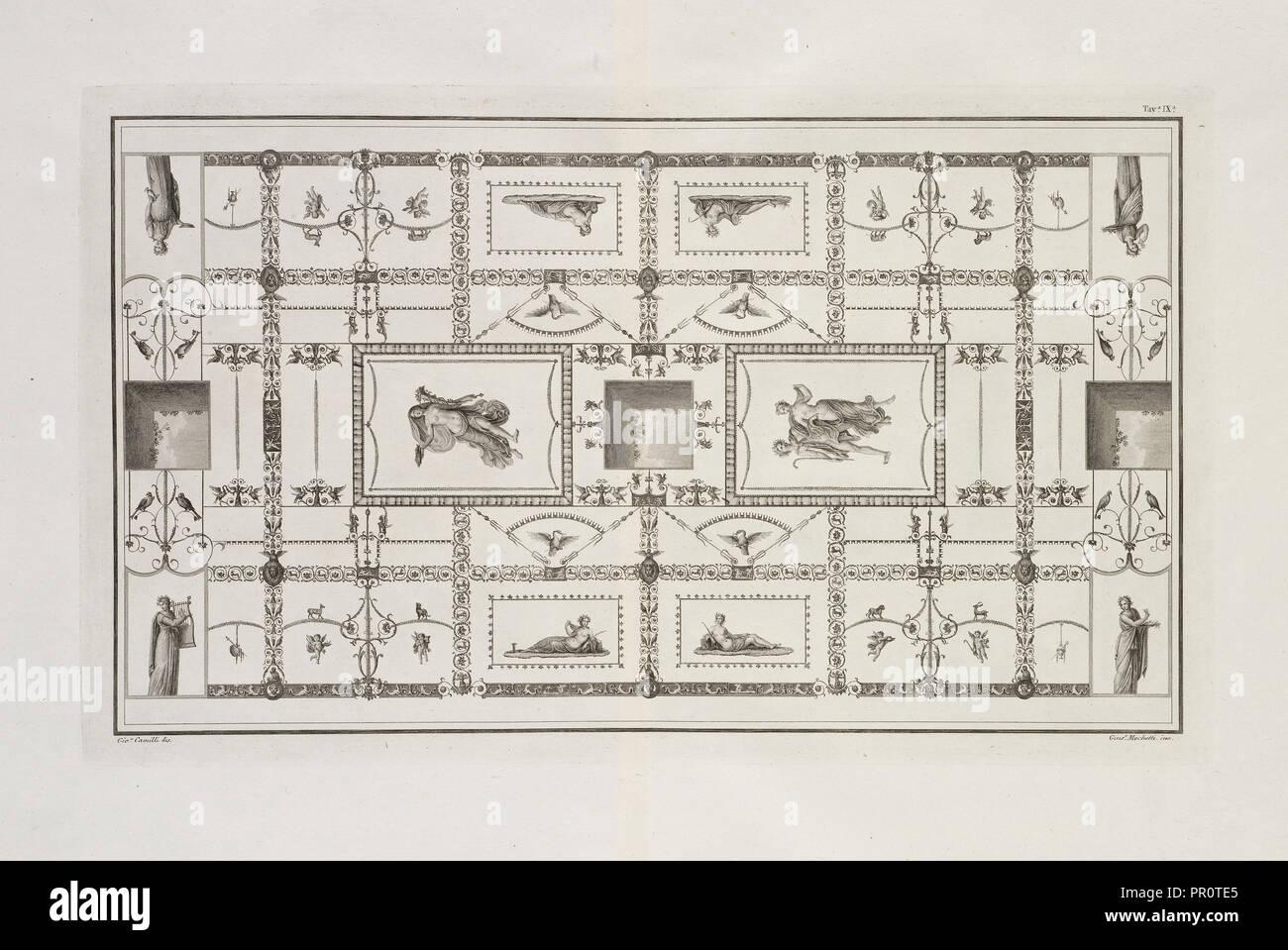 Tavola IX, Le antiche chambres esqviline comvnemente sådanne, delle Terme di Tito, Romanis, Antonio de, gravure, 1822 Photo Stock