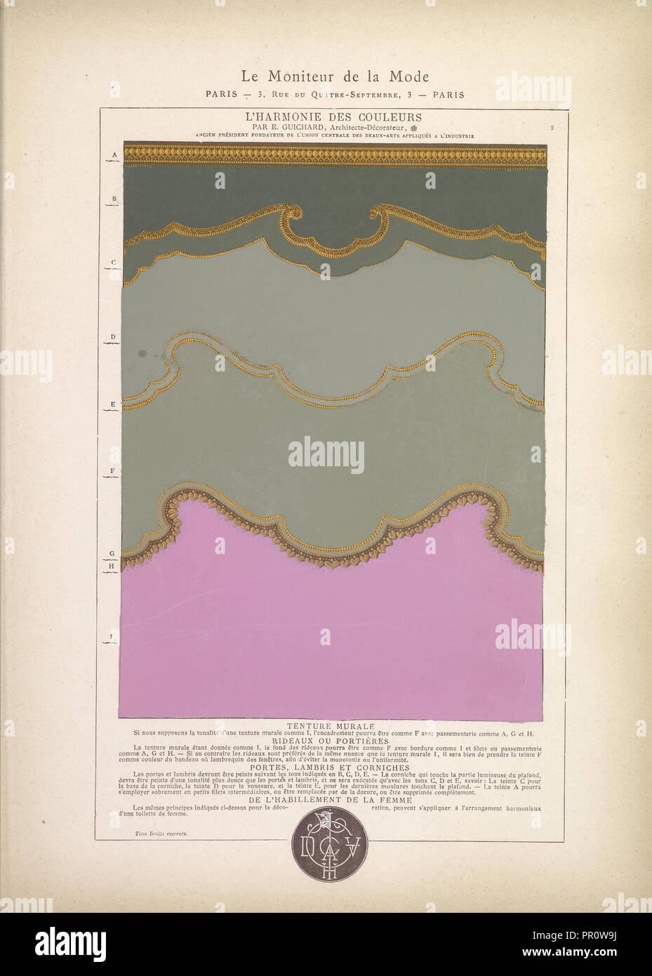 Tenture Murale, Lu0027harmonie Des Couleurs, Guichard, Édouard, B. 1815,  Peinture Sur Papier, 1880, La Plaque Numéro 2 En Haut à Droite