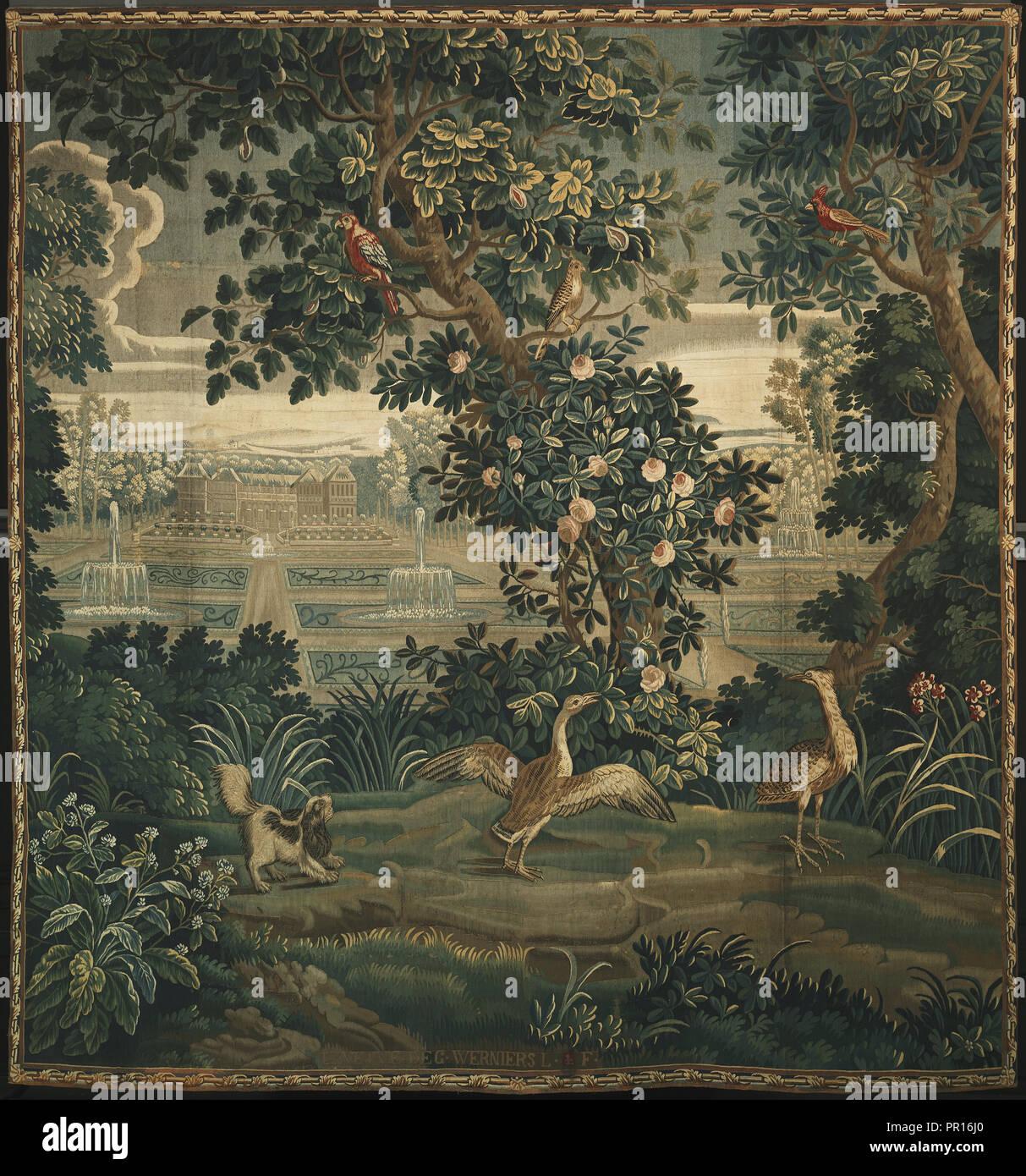 Verdure avec Château et jardin; la veuve Guillaume Werniers, français, est mort en 1778, actif à partir de 1738, 1738 - 1778; Laine et soie Photo Stock