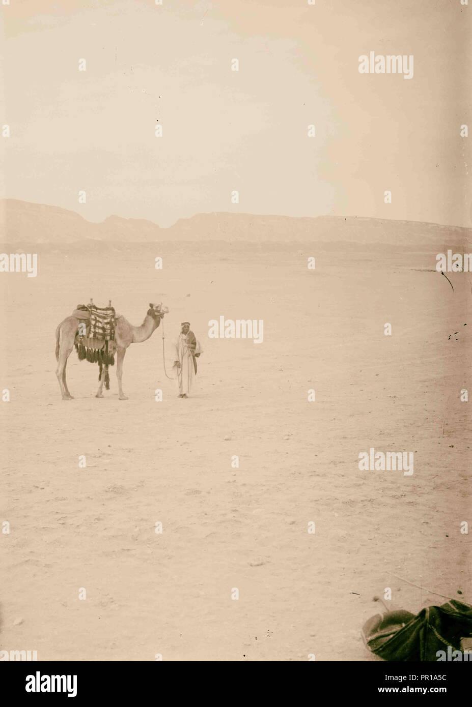 À Sinaï, via le désert. Désert morne scène dans la péninsule du Sinaï. 1900, l'Egypte, le Sinaï Photo Stock