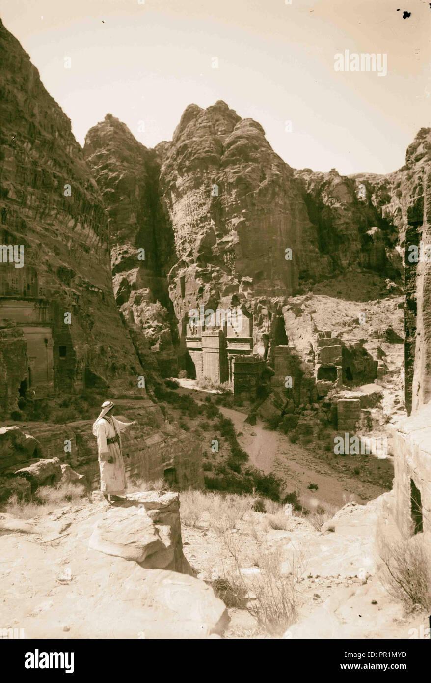 La Cisjordanie. Petra. Tombes nabatéennes en bas Sik. 1898, Jordanie, Petra, la ville disparue Photo Stock